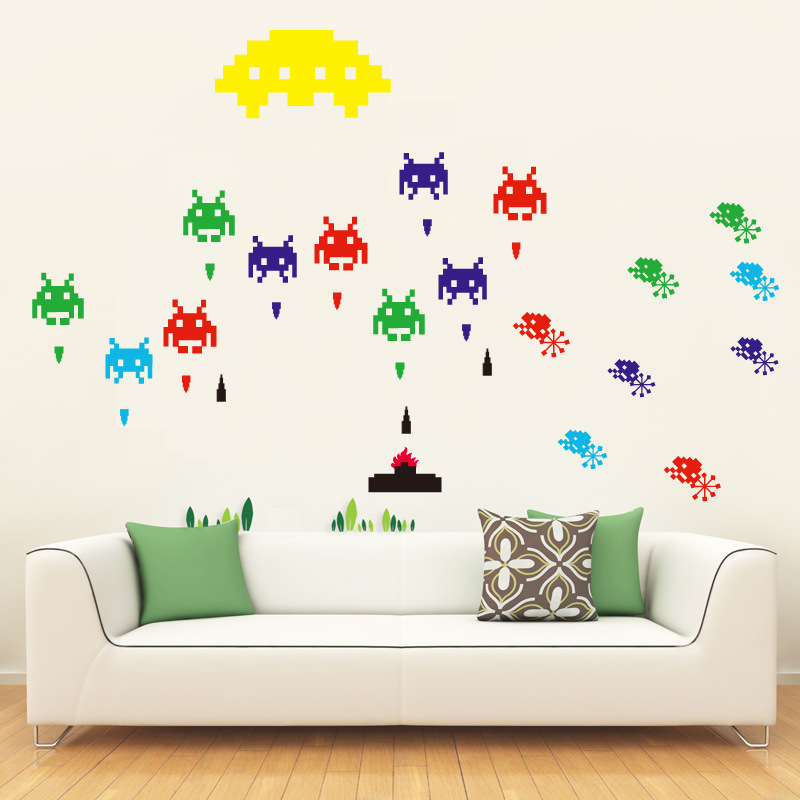 Wall Stickers For Kid's room Home Decor Space Invader Game Wall Sticker DIY Cartoon Wall Decals Boys Kids Room Decoration