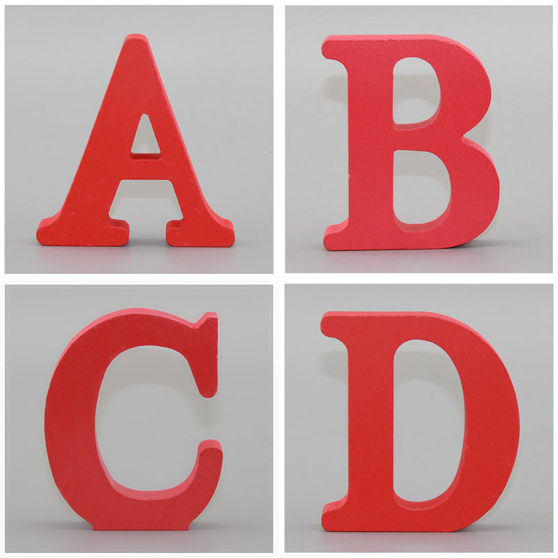 1pc 10CMX10CM Red Art Craft Free Standing Heart Wedding Home Decor Wooden Letter English Alphabet DIY Personalised Name Design