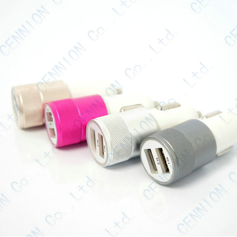 Fashion 12v 2 1A 1 0A Aluminium 2 port USB Universal Car Charger for Normal usb