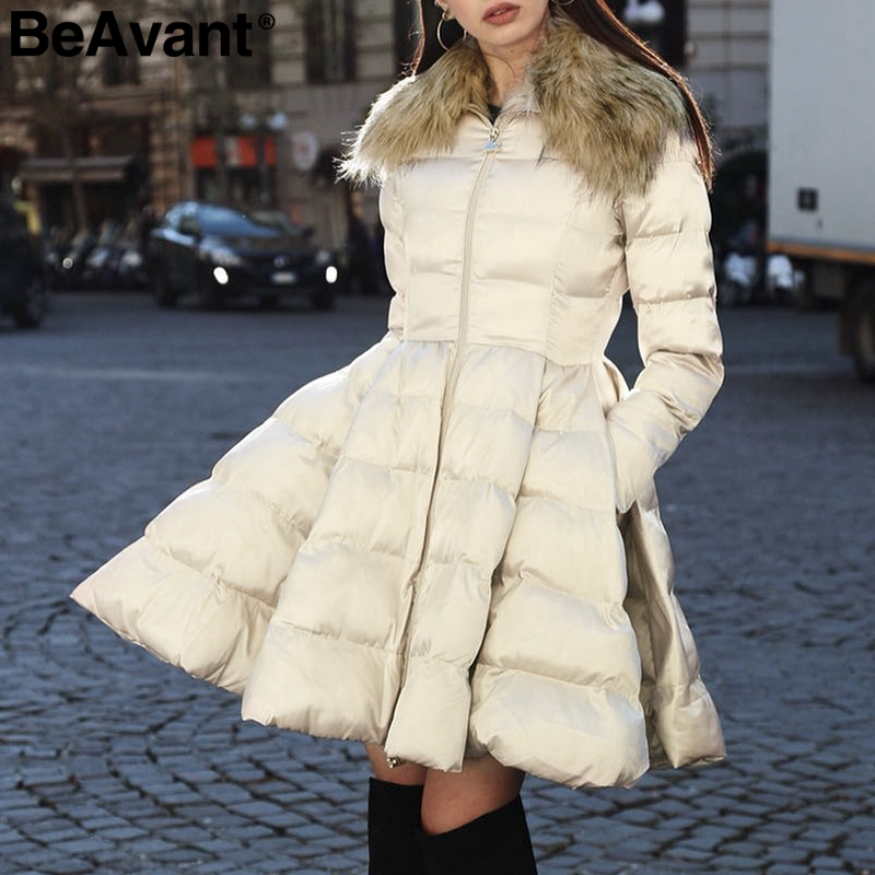 BeAvant Hairy faux fur collar   parka   women coat Elegant padded long winter coat peplum 2018 Pocket jacket coat casual outwear