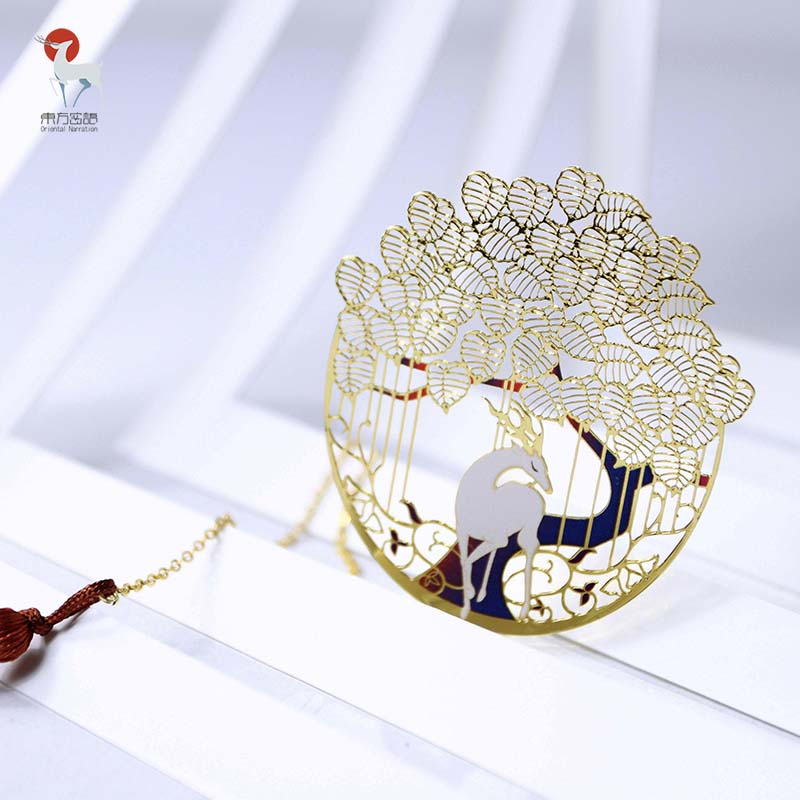 Delicate Hollow Out The Deer King Metal Bookmark Chinese Traditional Gift 1 Piece