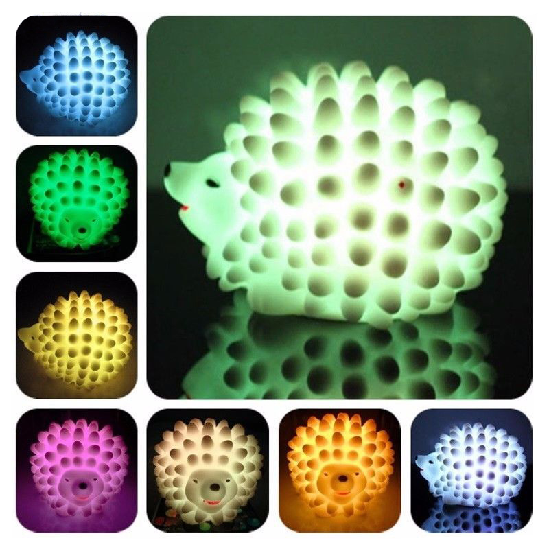 Popular LED Hedgehog Night Light Desk Lamp Changeable-color Christmas Present Baby Light LED Bedside Lamp P20