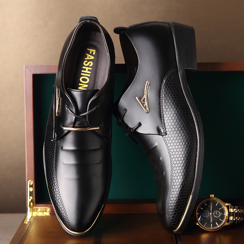 Fashion Men Dress Shoes Pointed Toe Lace Up Men'S Business Casual Shoes Brown Black Leather Oxford Shoes For Men Big Size 38-46 huracche 2016 brand men casual shoes lace up breathable black dress shoes for men big size chelsea light up oxford