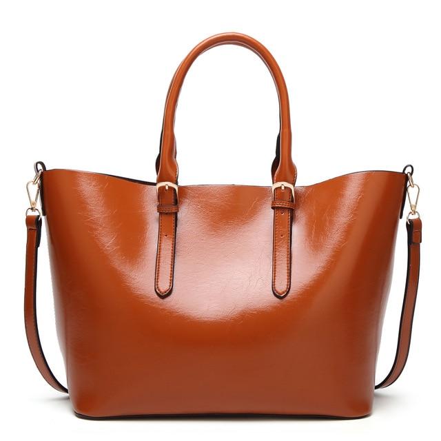 New Arrival Women Oil Wax PU Leather Women Handbag Vintage Tote Bag  Panelled Women s Shoulder Bag 84d410593fbb1