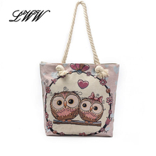 Lovely Cartoon Printing Canvas Tote Bags for Women Vintage Owl Flowers Ladies Shoulder Bags Big Beach Shopping Handbag