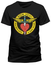 Custom Printed Shirts MenS Crew Neck Bon Jovi Through The Heart Short Tall T Shirt