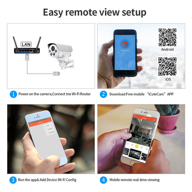 Loosafe IP Camera Outdoor Indoor 4X Zoom Intelligent Home Security Camera  Pan/tilt Full HD Wifi Hotspot Connection CCTV Camera