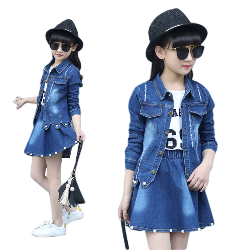 Girl Clothes 10 12 14 8 6 3 Years Denim Jacket + Skirt 2pcs Clothing For Girls Floral Baby Girl Spring Autumn Clothes Girls Suit 2018 autumn winter denim kids clothes embroidery floral jacket jeans 2pcs girls spring teenage girls clothing 6 8 10 12 years