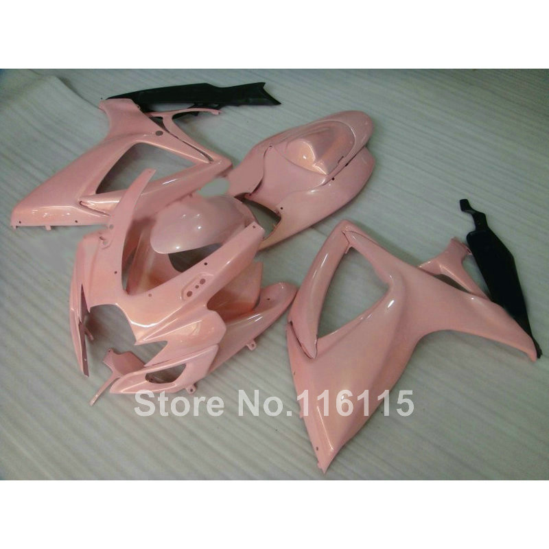 Injection mold fairing kit for SUZUKI GSXR 600/750 K6 K7 2006 2007 pink black GSXR600 GSXR750 06 07 fairings A495 injection mold fairing 2006 2007 for suzuki gsx r 600 750 k6 k7 plastic bike bodywork red frame free brand logo decal