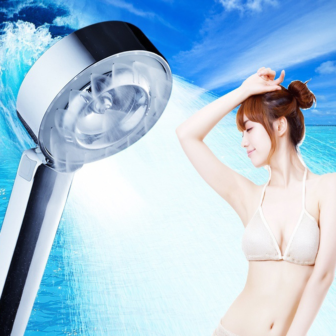 ABS Chrome Finish Water Saving High Pressure Boost Plastic Bathroom HandHeld Round Shape SPA Shower Head Rainfall in Shower Heads from Home Improvement