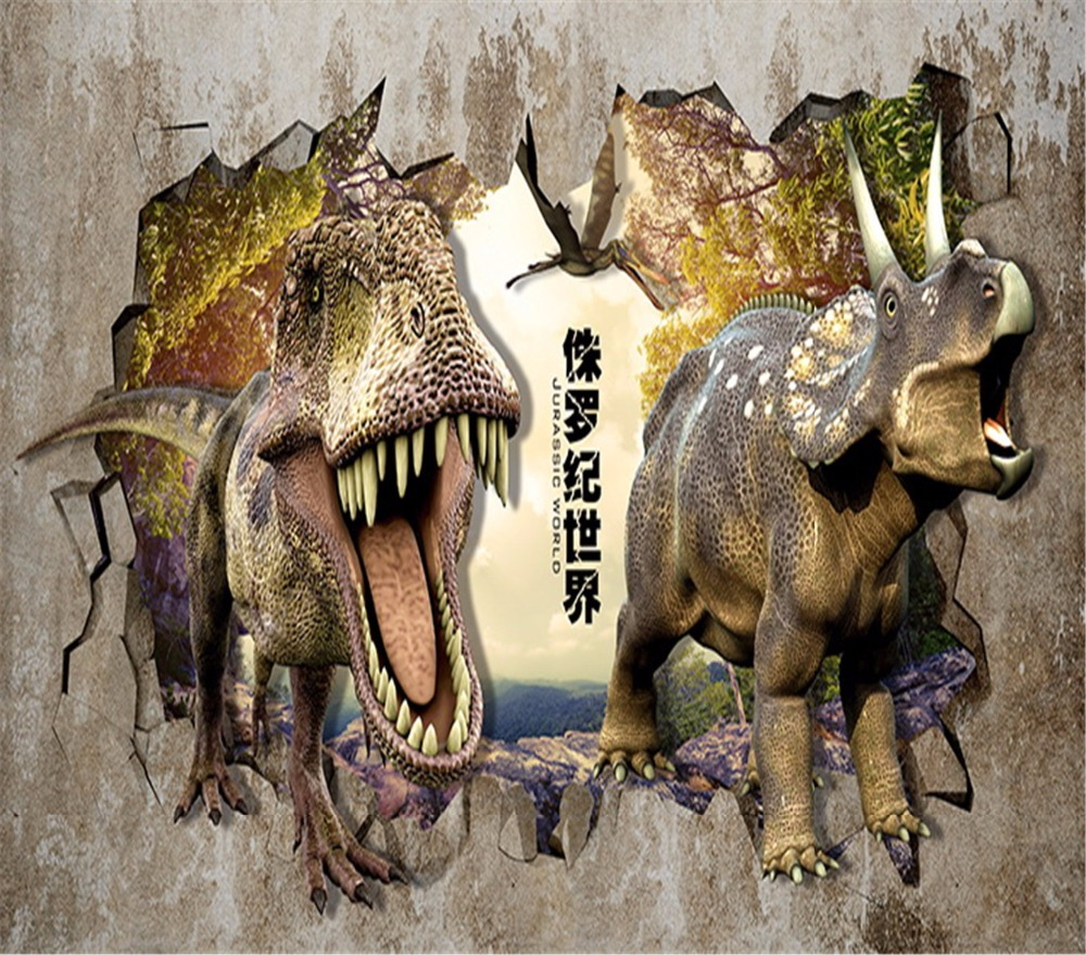 Home decoration wallpaper 3d mural dinosaurs break out of the wall childrens living room 3d mural pictures can be customized