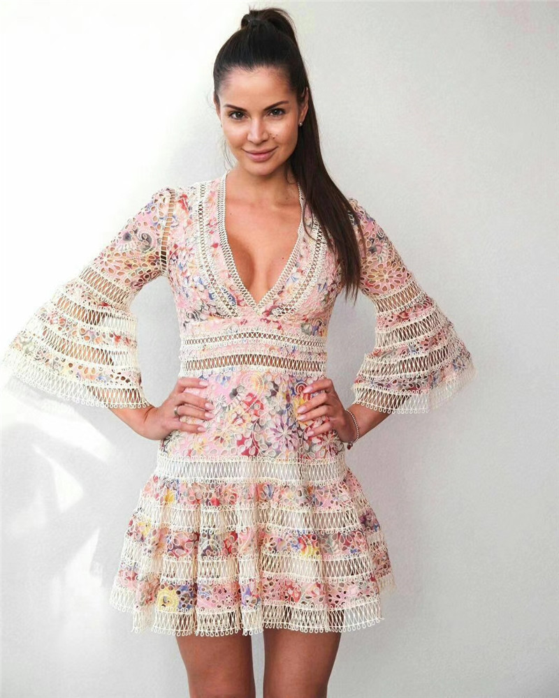 New embroidery lace floral dress deep v flare sleeve