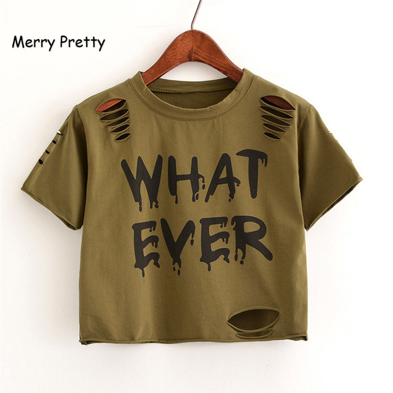 9573249f36fc0 MERRY PRETTY New t Shirt Women Crop Tops Harajuk Crew Neck Short Sleeve  WHAT EVER printed