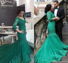 Sexy Meerjungfrau Langarm Grün Abendkleider V-ausschnitt Sweep Zug Applique Lange Kleider Für Besondere Anlässe 2017