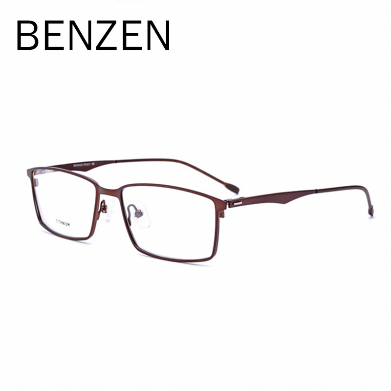 BENZEN Titanium Eyeglasses Frame Men Women Myopia Eyeglasses Square Metal Screwless Optical Prescription Frame 5103