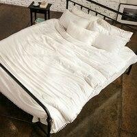Индивидуальные мыть хлопок Постельное бельё Pute белый с повезло помпоном Домашний Текстиль 100% хлопок хорошее качество 4 шт. Бесплатная доста