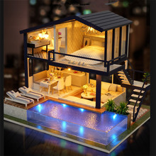 Souvenirs for Home Wooden 3D Dollhouse Gifts Time Apartment Music Casa Miniatura With LED Lights Diy Poppenhuis House Dolls