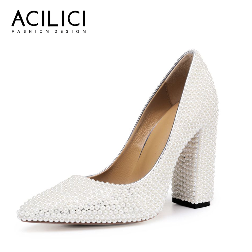 Women Wedding Shoes Pointed Toe High Block/ Square Heel