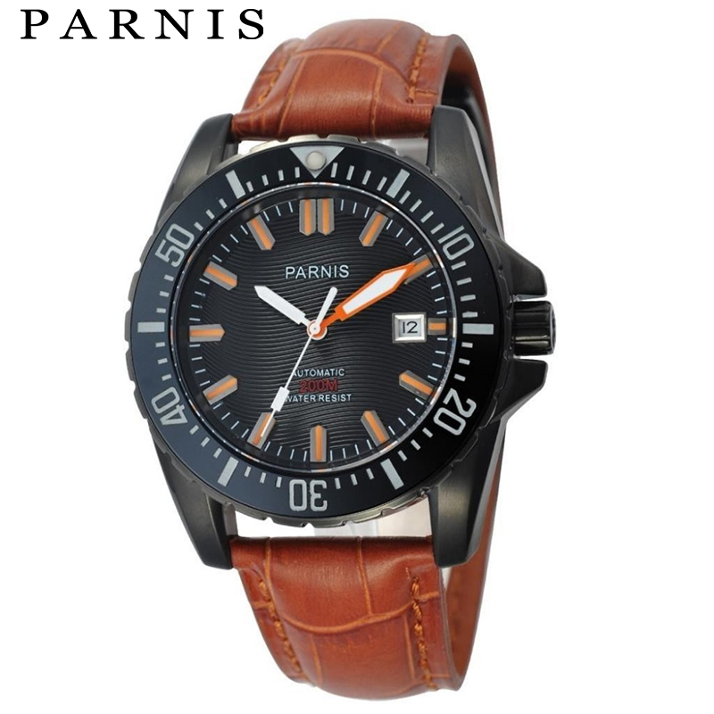 Fashion Watches 43mm Parnis PVD Case Japan Miyota Automatic Movement Diving Watch Men все цены