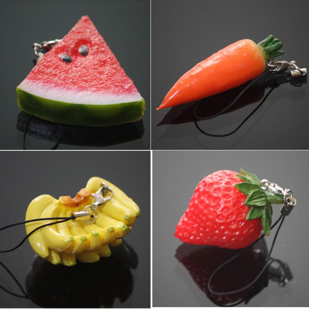 1PCS Cute Simulation fruit Cell Phone Charm Bag Strap Keychain Pendant Decor funny cell phone strap