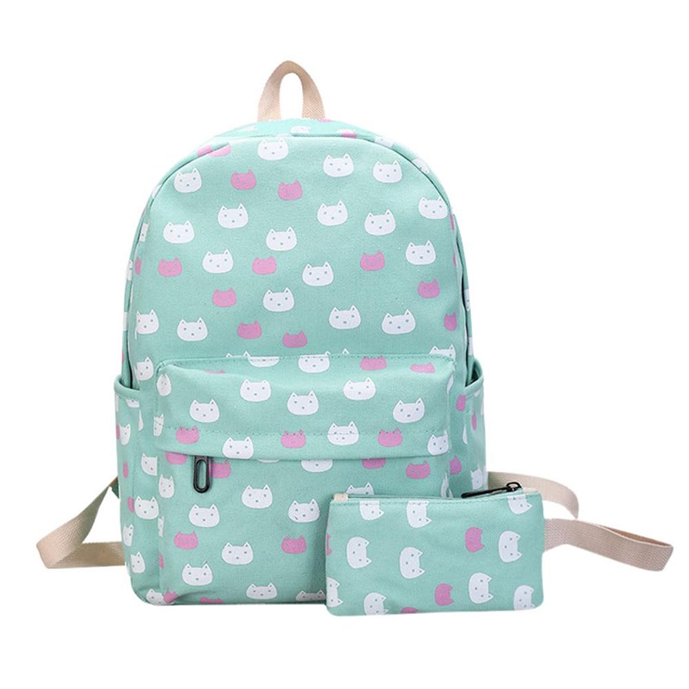 2pcs Preppy Canvas Backpack Set Cute Cat Backpack Floral Printed School Bags for Teenage Girls Cartoon