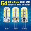 1/4/8 pçs/lote Ultra Brilhante G4 12 V/220 V 2835SMD LED Milho Lâmpada Quente Fresco Luz branca 3 W 24 LEDs Destacar Lampada