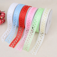 New Leaves Openwork Satin Bandwidth 2.5cm DIY Crafts Decorative Materials Bow Fashion Headdress Clothing Accessories Ribbon