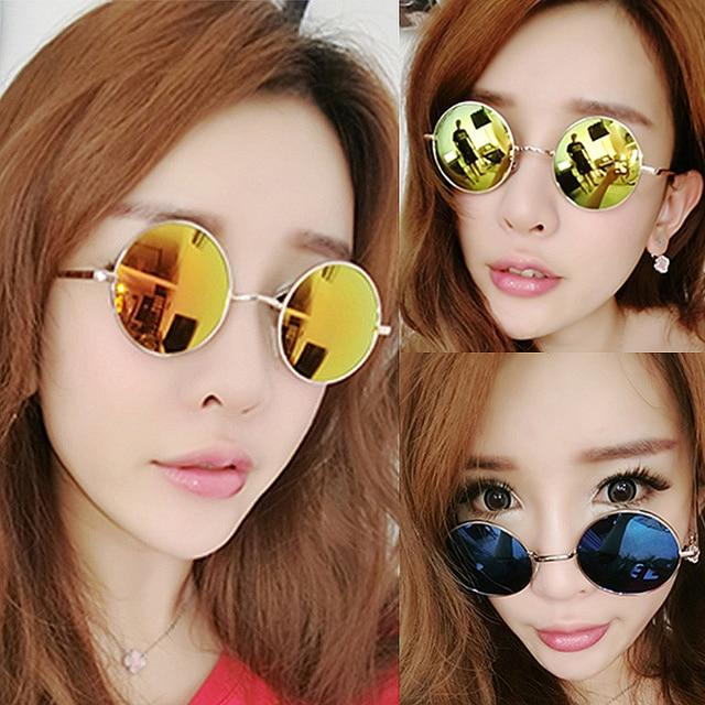 IVE Hot lente Rodada Óculos De Sol Do Vintage Homens/mulheres Espelho Gafas Oculos Retro Revestimento Óculos de Sol Rodada Frete Grátis 021