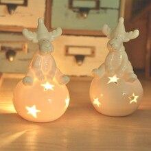 Белый лось Подсвечник чистый снег цвет Рождественский декоративный подсвечник сферические полые звезды Керамические ремесла небольшой чай емкость для воска