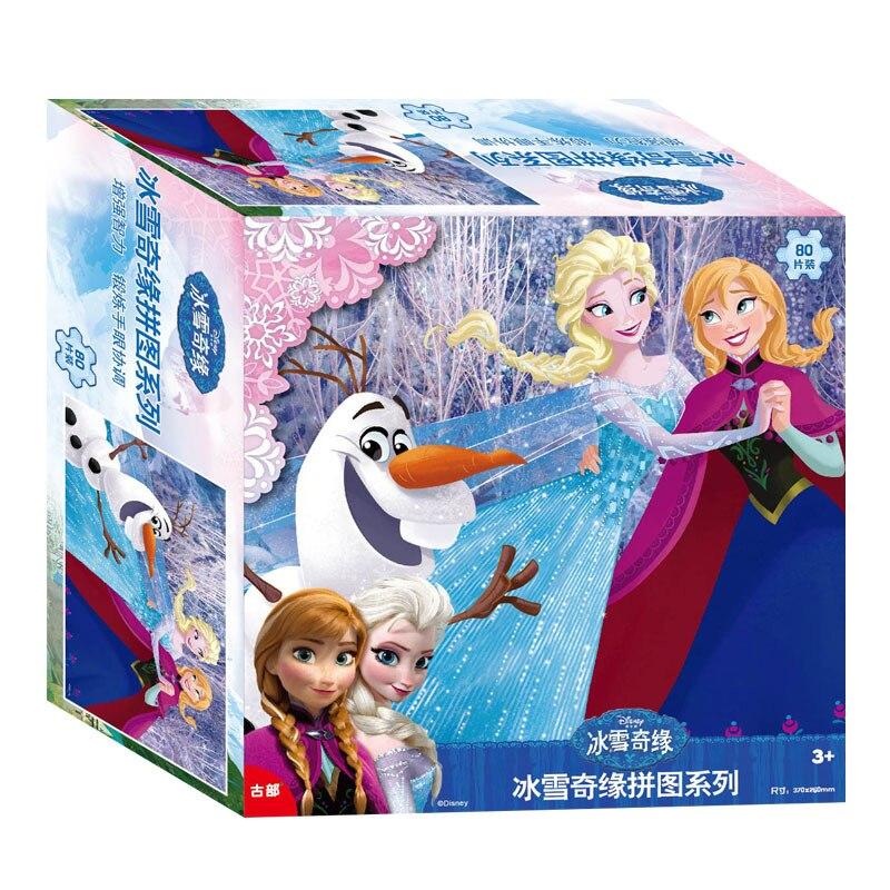 Disney уполномоченный Элементы 80 шт. головоломки замороженные/Микки/принцесса игрушки подарки для детей