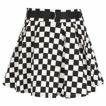 DICLOUD 2019 Pleated Checkerboard Skirts Womens Harajuku High Waisted Skirt Casual Dancing Korean Sweat Short Summer Mini Skirts 4