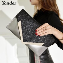 Yonder Bolso de mano de noche para mujer, bandolera mensajero pequeña, dorada, negra y rosa