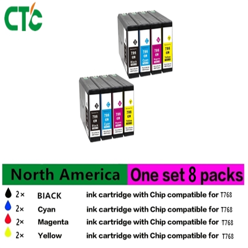 8 PK Compatible ink cartridge Epsonfor Epson WorkForce Pro WF-4630 5190 5620 5690 t7551 t7554 refill ink cartridge with chip for epson workforce pro wf 8010dw 8090dw wf 8590dwf