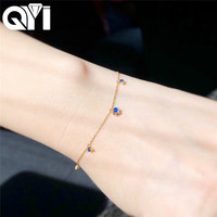 QYI Colored gemstone bracelet 18K Yellow Gold Natural Moonstone Blue Sapphire Real Diamonds Bracelet for Women Jewelry