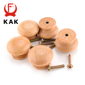 цены KAK 10pcs/Lot 3.6X2.6CM Big Size Natural Wooden Cabinet Drawer Wardrobe Door Knob Pull Handle Hardware Plain Circle Handle