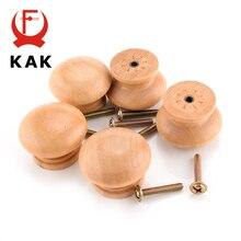 KAK 10 unids/lote 3.6X2.6CM de gran tamaño de madera Natural de la puerta del armario del cajón del gabinete del tirador, manija, pomo Hardware simple círculo manejar