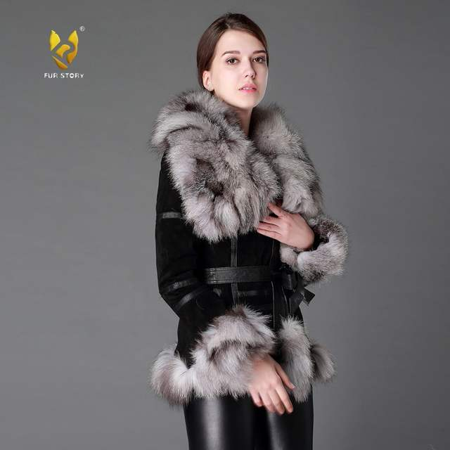 26b7947df4abc placeholder Fur Story 13055 Women s Coats Genuine Leather Coat Fox Fur  Collar Trim Sleeve Cuff 5XL Plus
