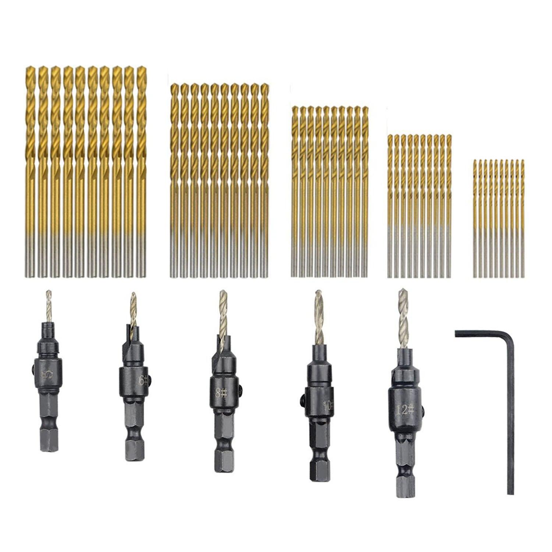 DSHA -55 PCS HSS 4241 Countersink Cone Drill Bit Set and High Speed Steel HSS Titanium Twist Drill Bits (1 mm-3 mm)