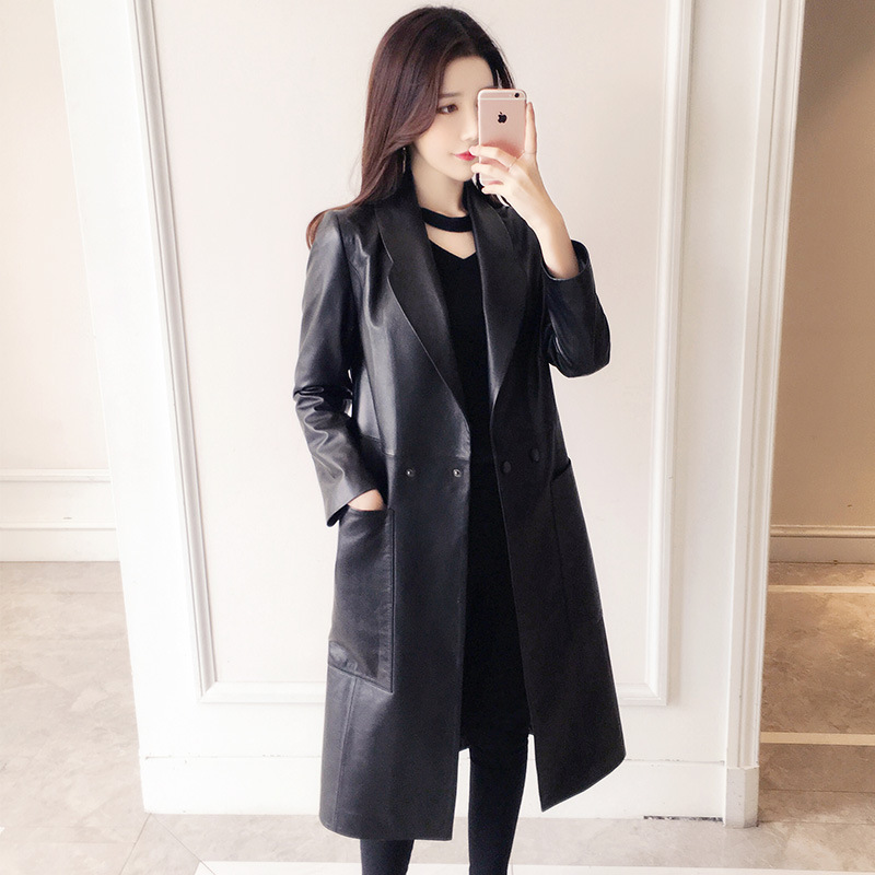100 Genuine Leather Coat For Women Spring Autumn Classic Long Jacket Female Lapel Slim Sheepskin Coat