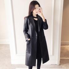 100% معطف جلد طبيعي للنساء ربيع الخريف الكلاسيكية سترة طويلة الإناث التلبيب سليم جلد الغنم معطف المرأة أبلى الجلود