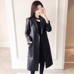 Image 1 - Manteau en cuir véritable femme, printemps automne, veste Long à revers femme, manteau Slim en peau de mouton, 100%