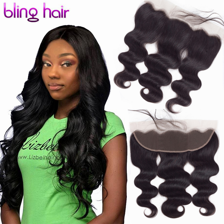 Bling Hair Lace Frontal Closure Brazilian Hair Body Wave 13x4 Free Part Human Hair Closure With Baby Hair Natural Color Non Remy