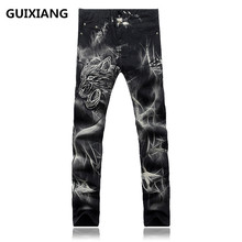2017 new style trousers Men's 100% cotton straight embroidery jeans Men's high quality brand jeans men black colors jeans