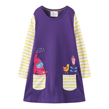 Baby Little Girls Spring Fall Winter Cotton Long Sleeve Striped Elephant Applique A-line Dress 18 Months-6 Years