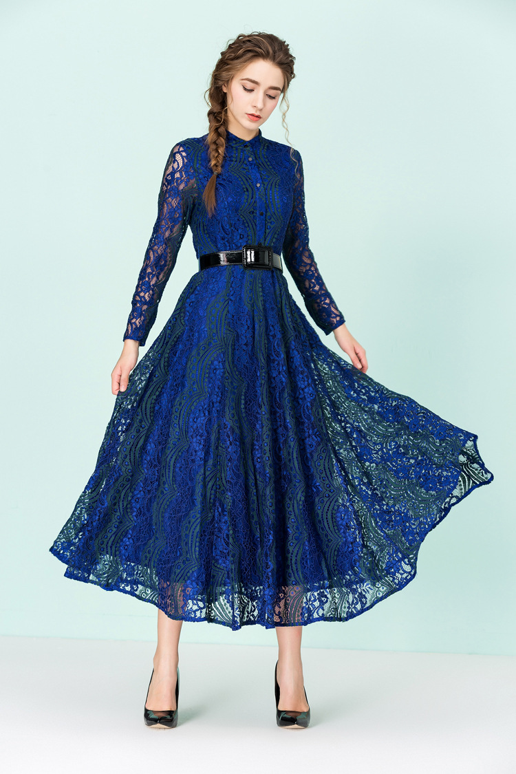 Fashion Dresses Accessories: 2016 Fashion Women Spring Vintage Lace Blue Red Long