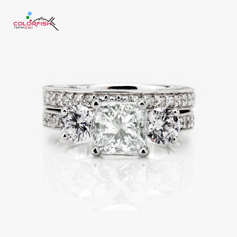 COLORFISH 2.68 ct Round Princess Cut Three Stone Engagement Ring Set Luxury Bridal Jewelry 925 Sterling Silver Women Rings Sets
