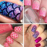 12 dicas/Sheet Nail Art Oco Adesivos de Unhas Stamping Stencil DIY Ferramenta Manicure