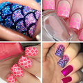 12Tips/Sheet Nail Art Hollow Stickers Nails Stamping Stencil DIY Manicure Tool