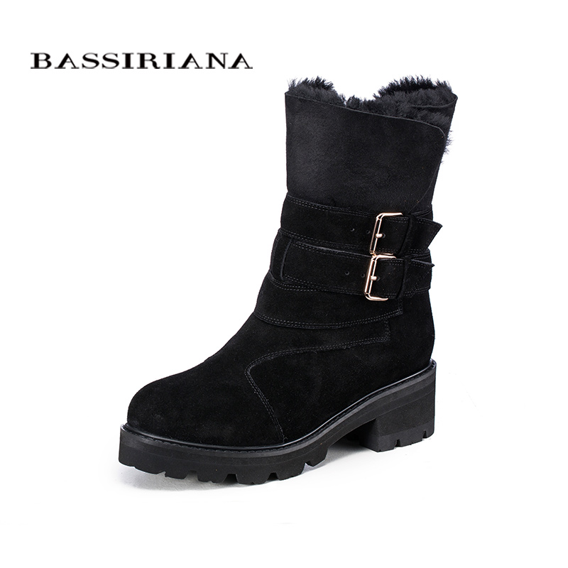 BASSIRIANA Fashion 2017 New Winter genuine leather  Warm Winter Boots Female Snow Boots Flats Shoes High Quality-in Mid-Calf Boots from Shoes    2