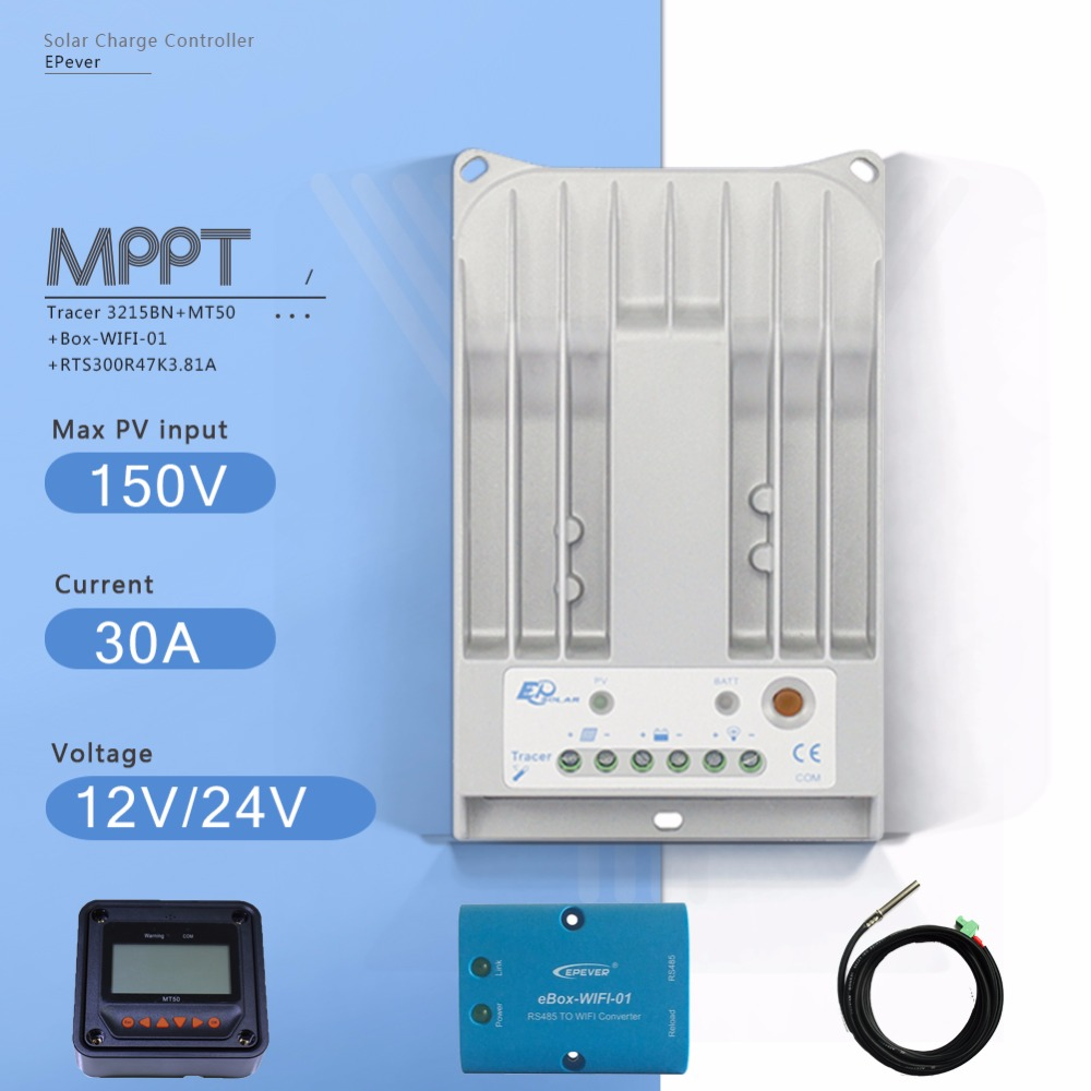 Tracer 3215BN MPPT 12V/24V Auto Solar Charge Controller 30A PV Regulator with MT50 Meter Ebox WIFI Module and Temperature Sensor tracer 1215bn mppt 10a solar battery charge controller 12v24v auto solar charge regulater with mt50 meter and temperature sensor